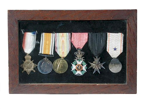 To Major Edward Harman Hicks, Royal Army Medical Corps, a WWI trio together with the Belgian Order o