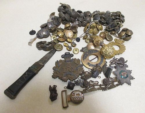 Militaria; a quantity of buttons, a knife etc