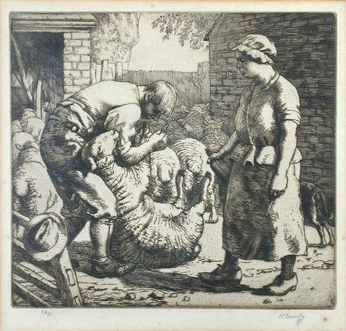 Charles Frederick Tunnicliffe, R.A. (1901-1979) The Sheep Doctors, etching, signed and numbered 64/7