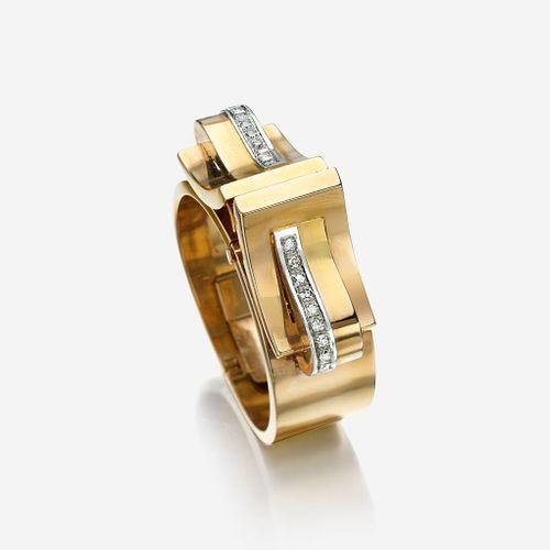 An eighteen karat rose gold and diamond bangle bracelet/clips