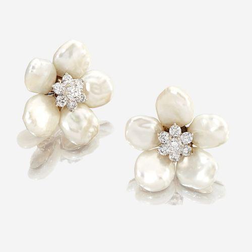 A pair of cultured coin pearl, diamond, and eighteen karat gold ear clips, Seaman Schepps