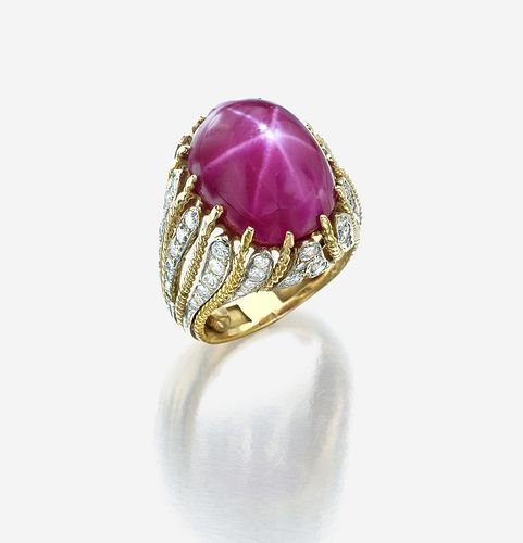 A star ruby, diamond, and eighteen karat gold ring