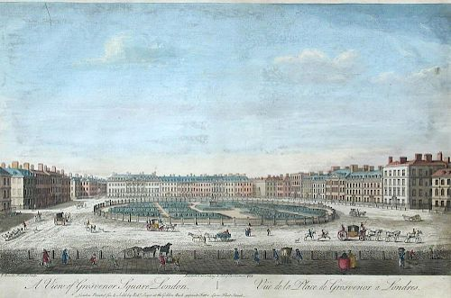 T. Bowles A View of Grosvenor Square, London; The South West Prospect of London, coloured engravings