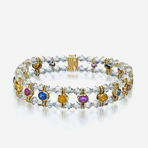 An eighteen karat gold, colored sapphire, and rock crystal necklace, Bulgari