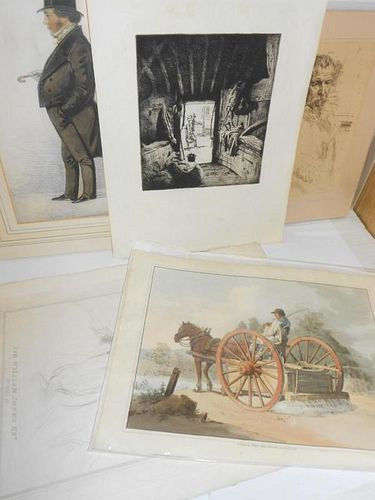 Six unframed prints and watercolours E. Herbert Whydale, View from a barn door, two figures returnin