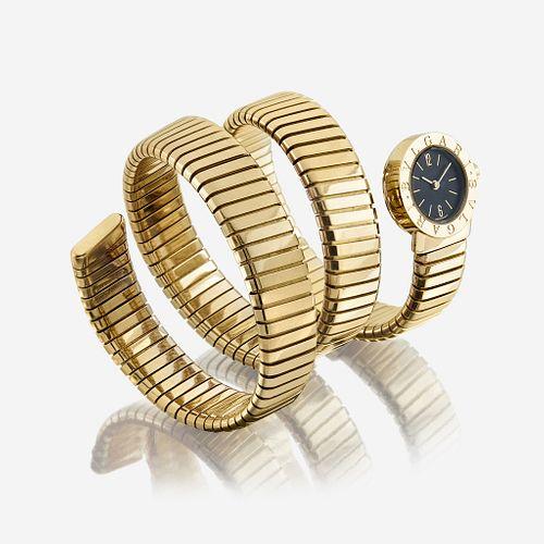 An eighteen karat gold, Tubogas bracelet wristwatch, Bulgari Bulgari
