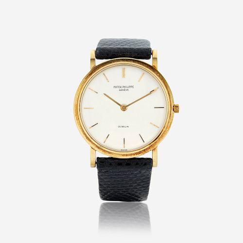 An eighteen karat gold strap wristwatch, Patek Philippe, retailed by Gubelin Calatrava, circa late 1960's