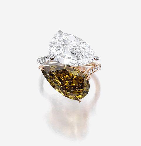 A diamond, chameleon diamond, platinum, and eighteen karat rose gold ring