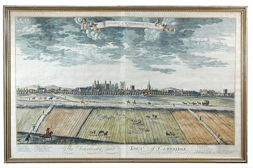 After R. Whitehand, The University and Town of Cambridge, coloured double page engraving for Thos Ta
