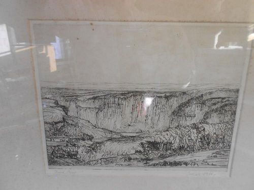 Joseph Webb (1908-62) Landscape with escarpment, etching signed below in pencil, 22 x 28cm
