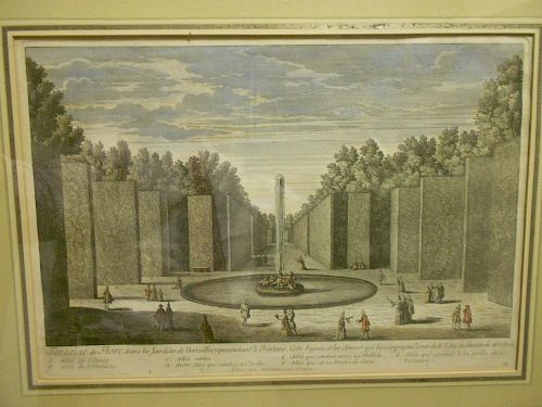 Baquoy after Girard, A pair of coloured engravings of Versailles Gardens, published by Mortain, late