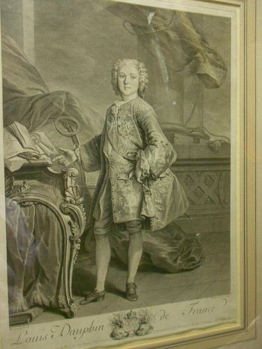 Delarmessin after Tocque, Louis Dauphin de France, engraving, 18th century, 50 x 36cm (plate; slight