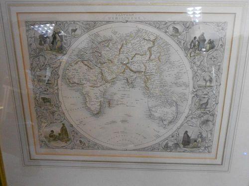 John Tallis, Eastern Hemisphere, hand coloured engraved map after J.Rapkin, 26 x 35cm
