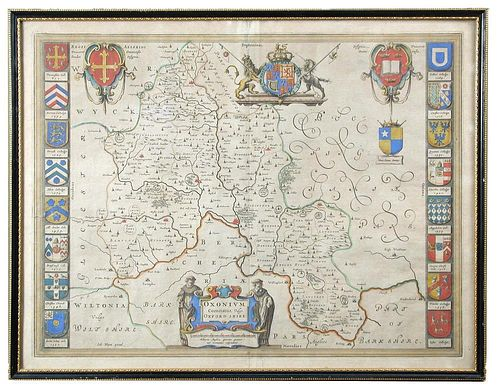 Johannes Blaeu, Oxonium Comitatus Vulgo Oxfordshire, engraved map with hand colouring c.1650, toned,