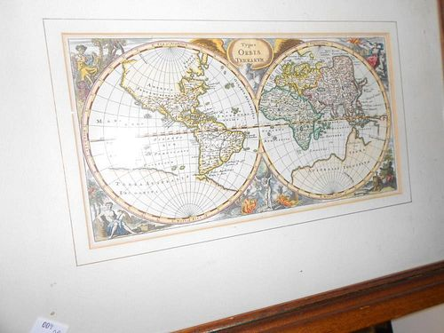 A Double Hemisphere Map of the World, c.1650, hand coloured engraving, 16.5. x 30.5cm; together with