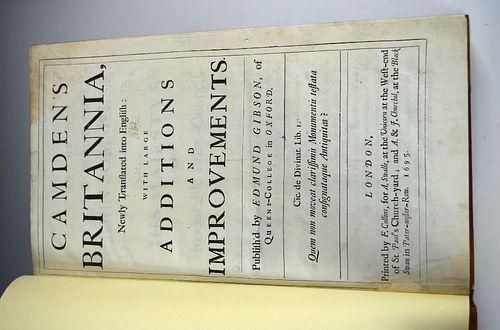 CAMDEN (William) Britannia, Gibson edition, London 1695, folio, 50 double-page maps (6 folding), 9 p