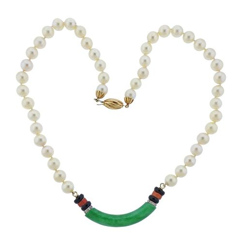 14k Gold Jade Diamond Onyx Coral Pearl Necklace