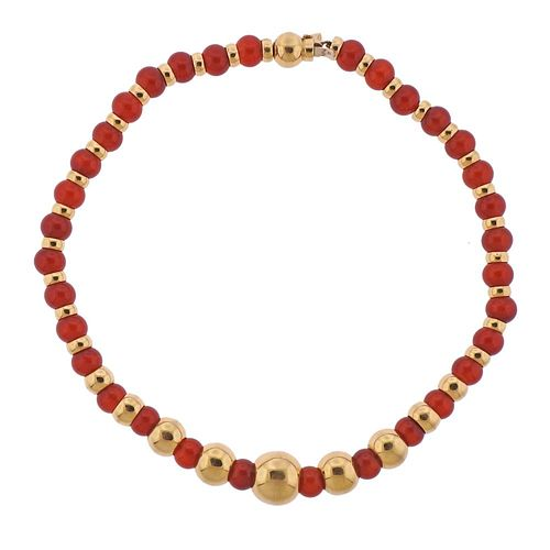 Marina B Sfera 18k Gold Carnelian Bead Necklace