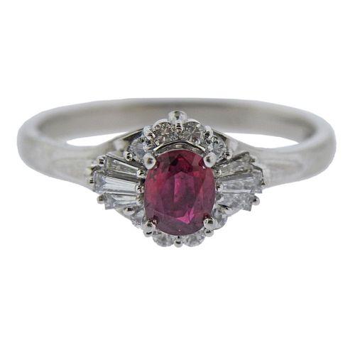 Platinum Ruby Diamond Ring