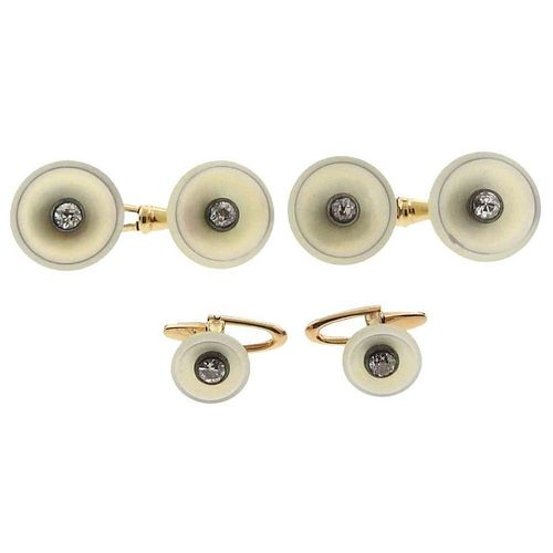 Continental Art Deco Mother of Pearl Diamond Gold Cufflinks Stud Dress Set