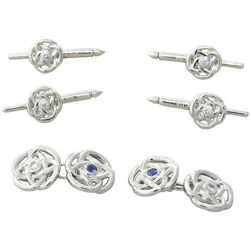 Trianon Diamond Sapphire Gold Cufflink Stud Dress Set