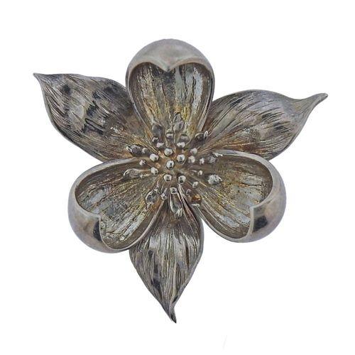 Tiffany & Co Sterling Silver Flower Brooch Pin