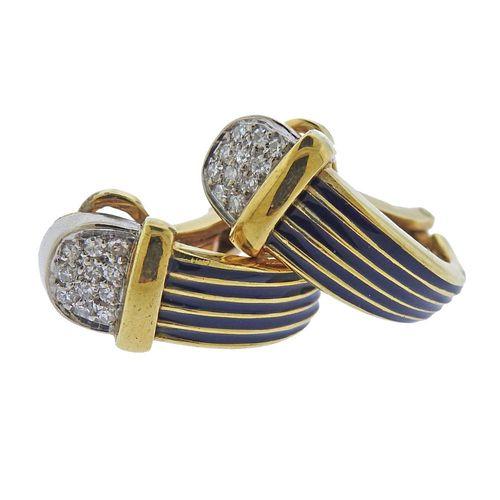 18k Gold Enamel Diamond Half Hoop Earrings
