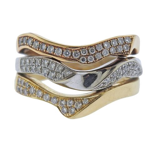14k Gold Diamond Wave Band Ring