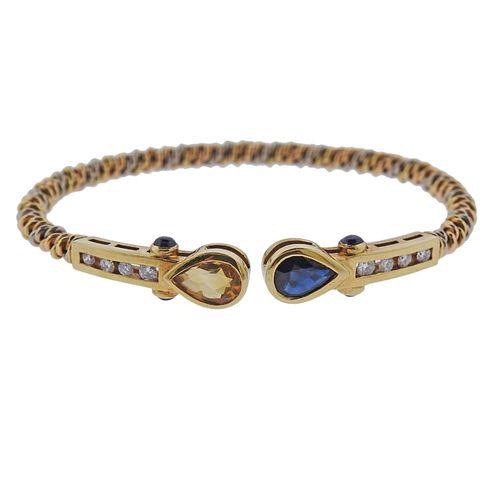 18k Gold Blue Yellow Sapphire Diamond Cuff Bracelet
