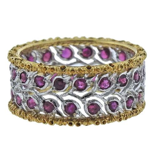 Buccellati Ruby Two Color Gold Band Ring