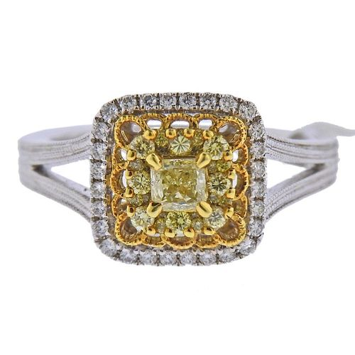 Gregg Ruth 0.65ctw Yellow White Diamond 18k Gold Engagement Ring
