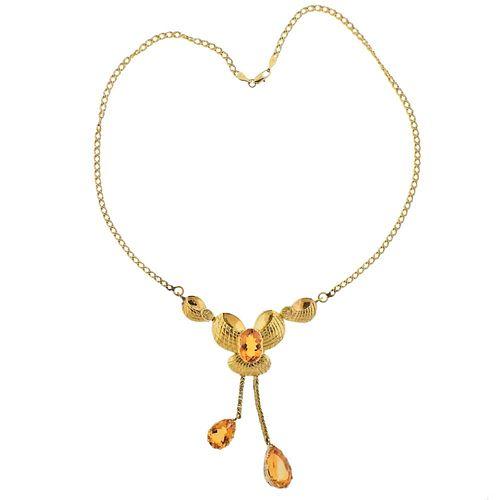 1950s Gazdar 21k Gold Citrine Pendant Necklace