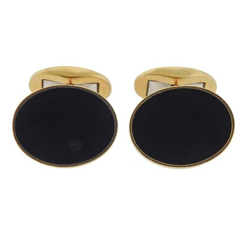 Tiffany & Co 18k Gold Onyx Cufflinks