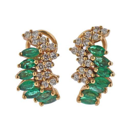 14k Gold Emerald Diamond Earrings