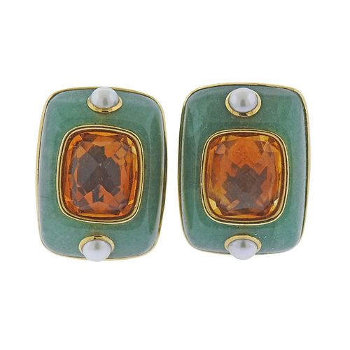 Seaman Schepps 18k Gold Chrysoprase Citrine Pearl Earrings