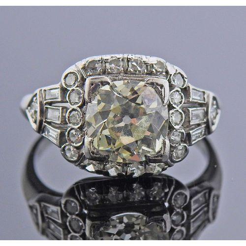 Art Deco Platinum 1.80ct Diamond Engagement Ring