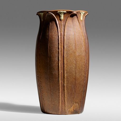 Ruth Erickson for Grueby Faience Company, Rare and Exceptional floor vase
