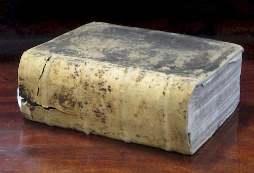 Bible, Christopher Barker 1599, added engraved title (creased), NT title present, Psalms incomplete