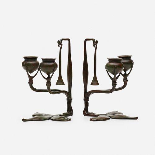 Tiffany Studios, Fleur-de-Lis candleholders with snuffers, pair