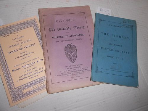 Book sale catalogues. Colchester Castle Society Book Club, catalogue of the Library 1856, blue paper