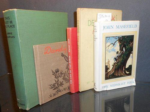 Literature, various. MASEFIELD (John) The Midnight Folk, 1949, original watercolour sketch of a sail