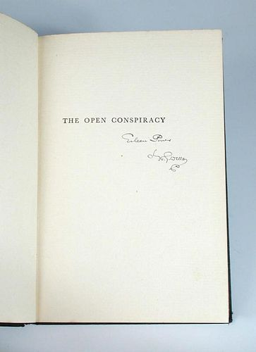 WELLS (H G) The Open Conspiracy, London 1928, inscribed in ink by the author to Eileen Power to half