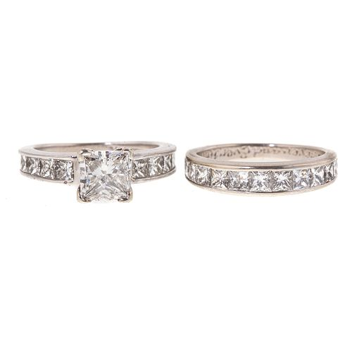 A GIA 1.45 ct Diamond Engagement Ring & Band in 14K
