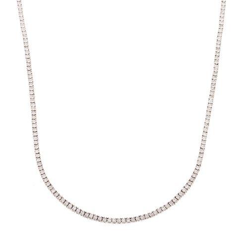 A 3.92 ctw Diamond Line Necklace in Platinum