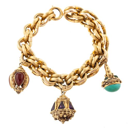 A Substantial Link Bracelet with Italian Charms
