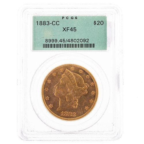 1883-CC $20 Liberty Double Eagle PCGS XF45 OGH