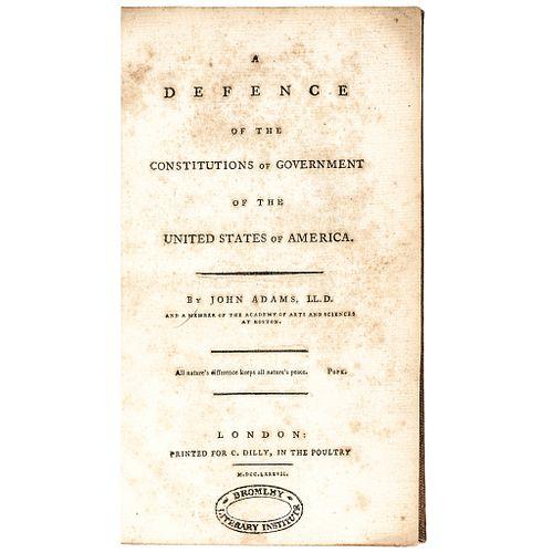1787 First Edition 2-Vol Set - John Adams Landmark Work on Constitutional Theory