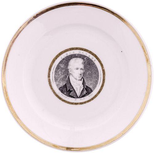 c. 1817 Exceedingly Rare JAMES MONROE French Porcelain Gold trim Desert Plate