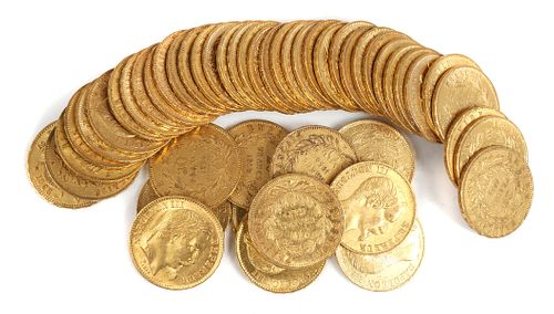 50 France GOLD COINS (20f) 20 Francs