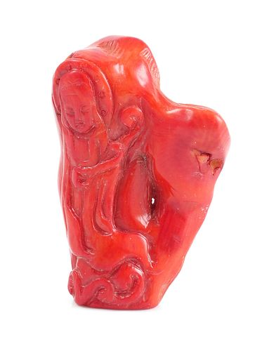 Red Coral Carved Chinese Buddha Figure
